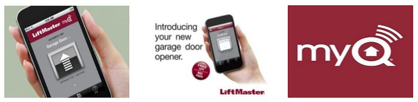 Introducing your new garage door opener promotion image of a phone displaying the LiftMaster app