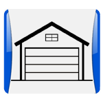 A house icon representing the residential garage door services of Aldor Sales, Inc. in Jacksonville, FL